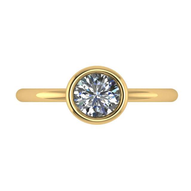 1.25 Carat Round Diamond Bezel Solitaire 14k Yellow Gold