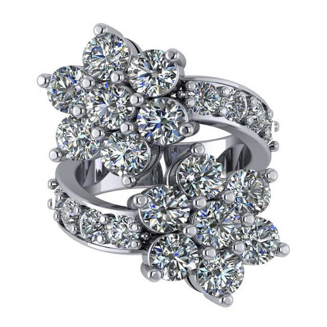 6.80 Carat Diamond Flower Bypass Ring