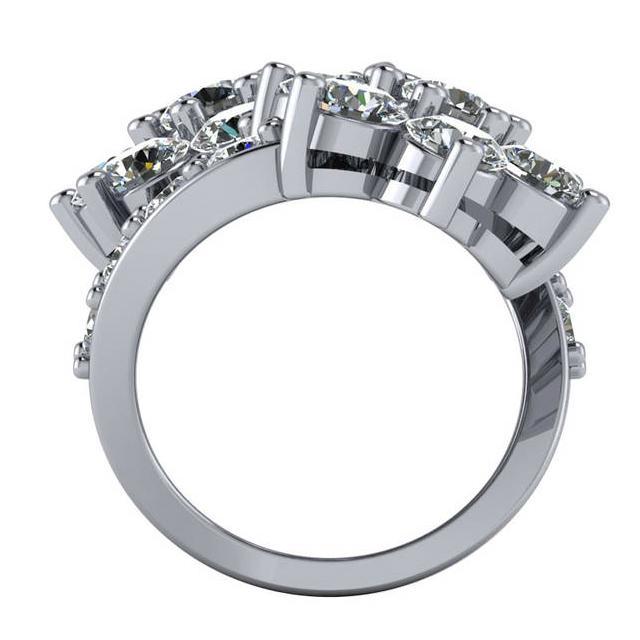 6.80 Carat Diamond Flower Bypass Ring