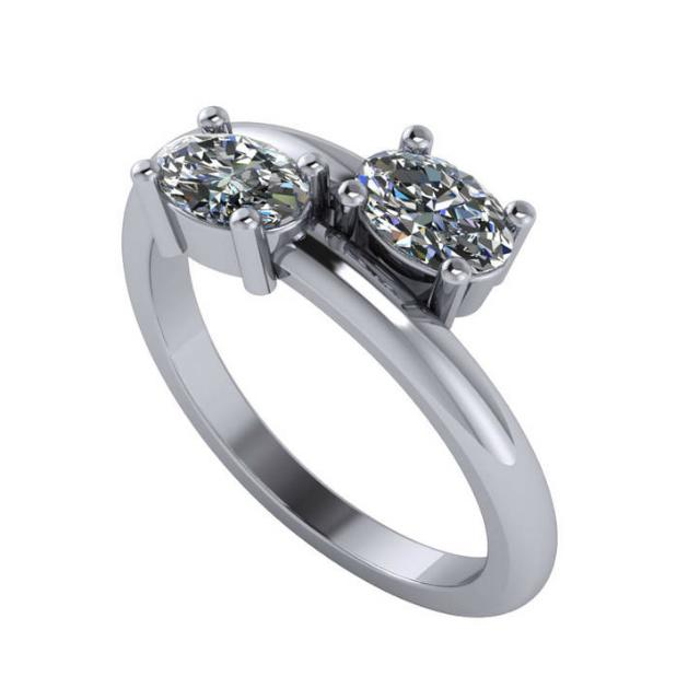 1.00 Carat tw. Double Oval Diamond Bypass Ring