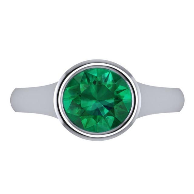 2.00 Carat Round Tsavorite Garnet Bezel Solitaire Ring
