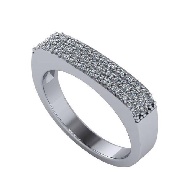 Three Row Diamond Pave Bar Ring