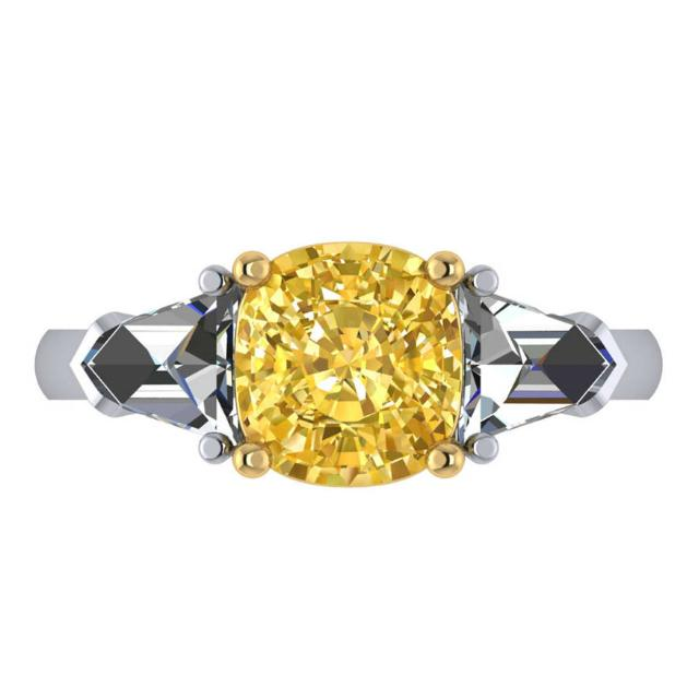 3.00 Carat Cushion Fancy Intense Yellow Diamond & Bullet Diamond Ring