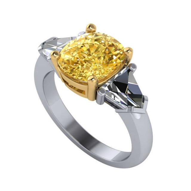 3.00 Carat Cushion Fancy Intense Yellow Diamond & Bullet Diamond Ring