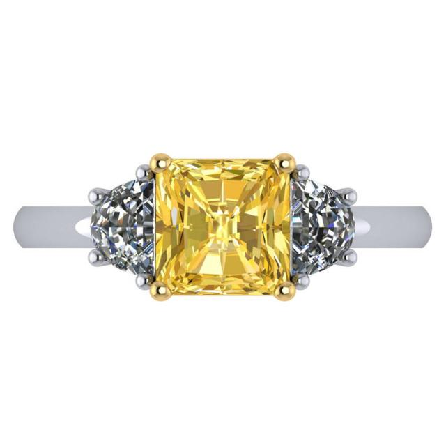 2.00 Carat Radiant Fancy Intense Yellow Diamond & Half Moon Diamond Three Stone Ring