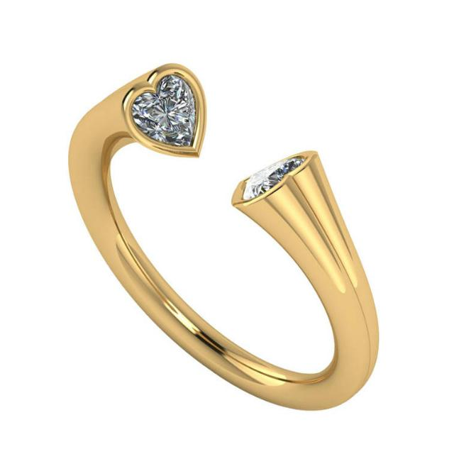 0.60 ctw Heart Diamond Bezel Open Cuff Ring
