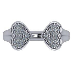 Diamond Pave Heart Open Cuff Ring