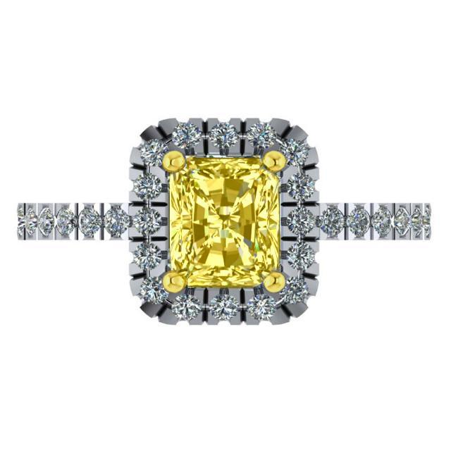 1.00 Carat Radiant Yellow Diamond & Halo Engagement Ring