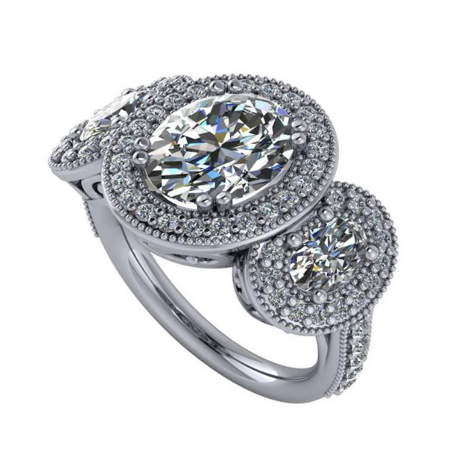 3 Carat Oval Diamond & Halo Three Stone Vintage Ring