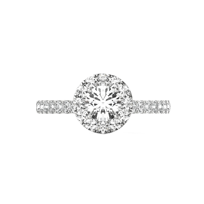 0.70 Carat Round Diamond & 2mm Halo Pave Ring