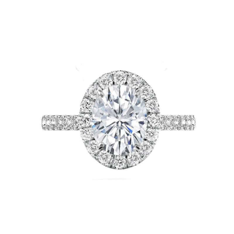 3 Carat Oval Forever One Moissanite & 2mm Diamond Halo Engagement Ring