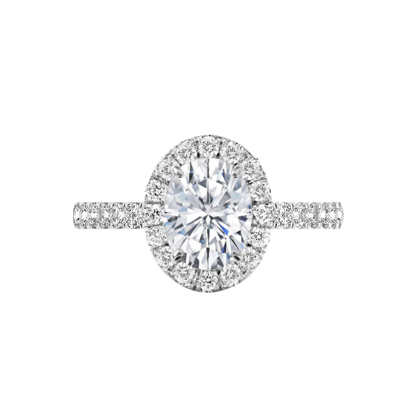 2 Carat Oval Forever One Moissanite & 2mm Diamond Halo Engagement Ring