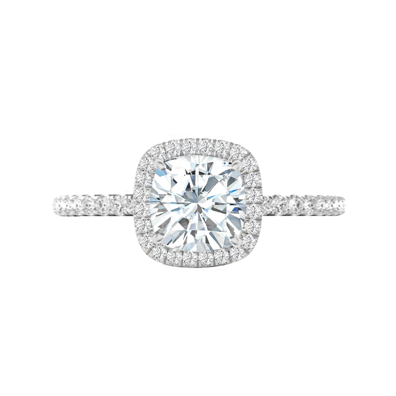 3 Carat Cushion Moissanite & Diamond Halo Ring