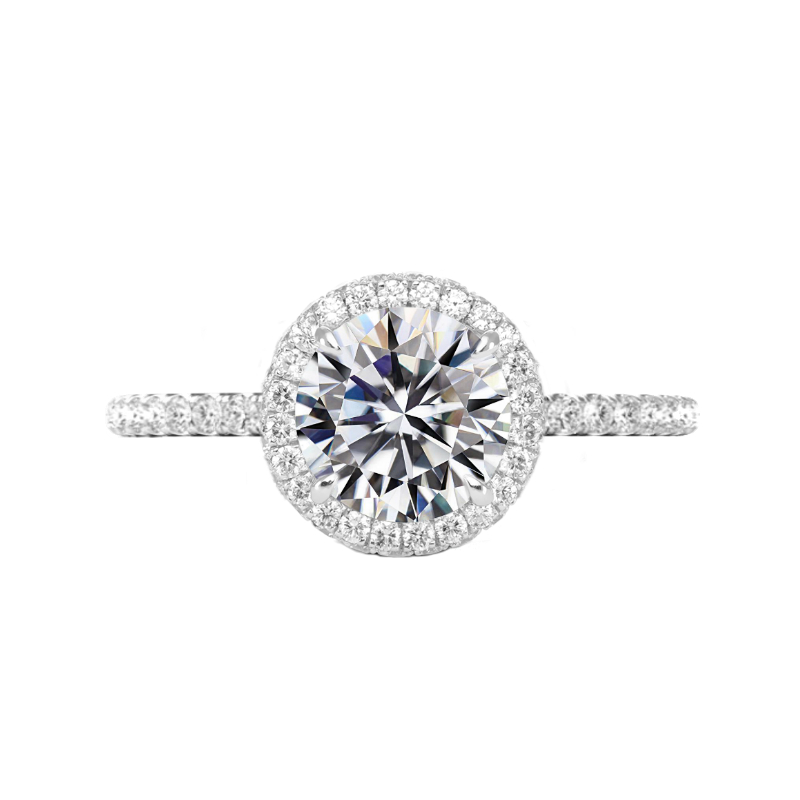 3 Carat Round Diamond & Double Edge Halo Ring