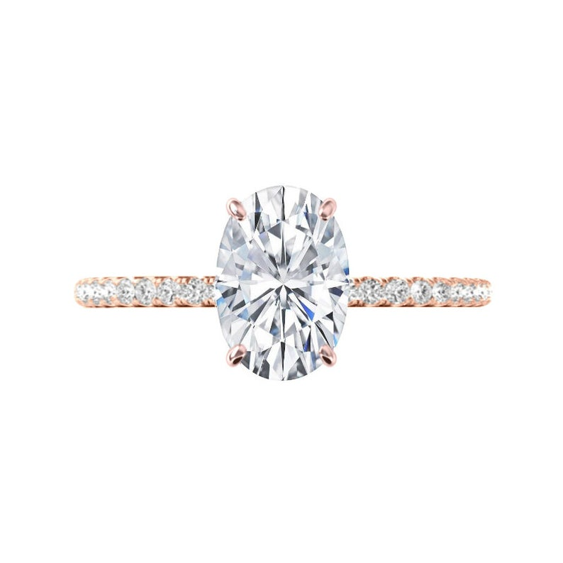3 Carat Elongated Oval Moissanite & Diamond Hidden Halo Ring
