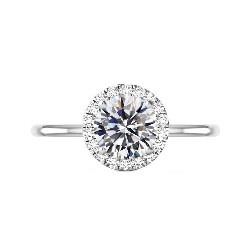 3 Carat Round Moissanite & Diamond Halo Solitaire Ring