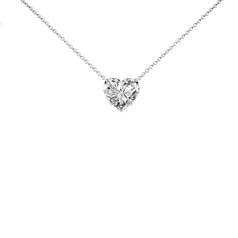 3 Carat Heart Diamond Solitaire Necklace