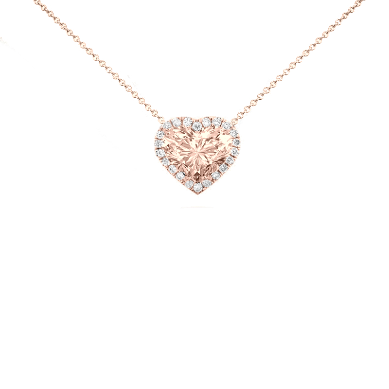 3 Carat Heart Morganite & Diamond Halo Necklace