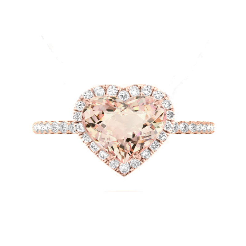 3 Carat Heart Morganite & Diamond Halo Rose Gold Ring