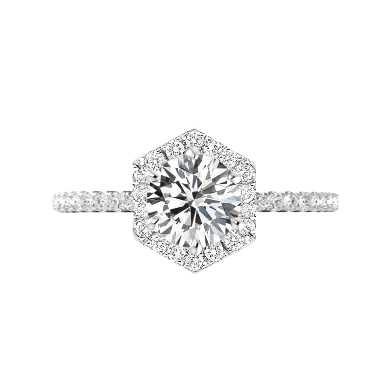 3 Carat Round Moissanite & Diamond Hexagon Halo Ring