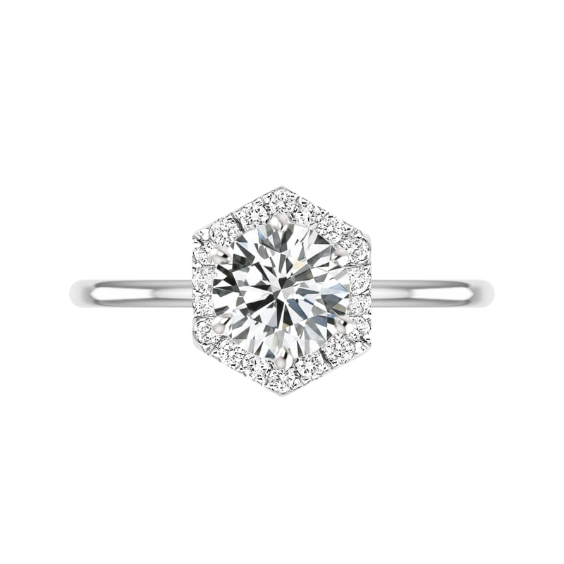 3 ct Round Moissanite & Diamond Hexagon Halo Solitaire Ring
