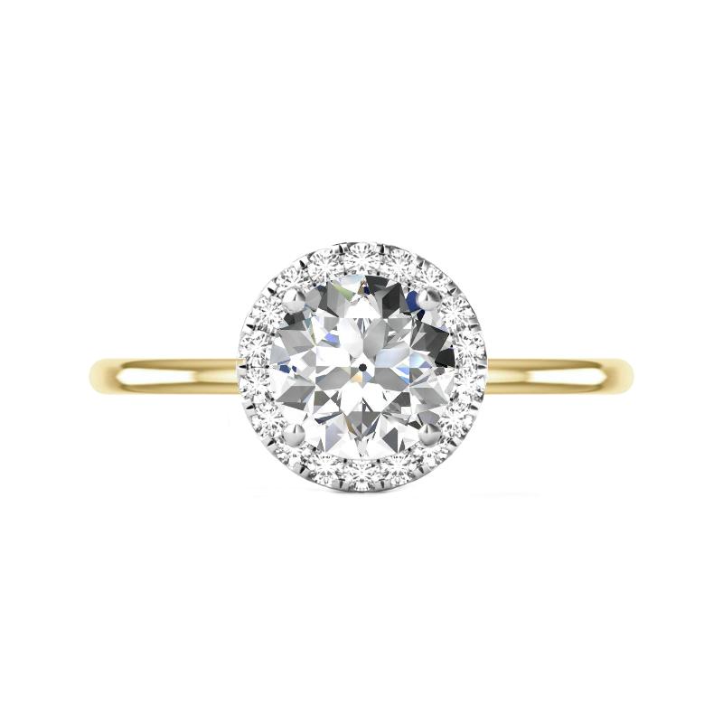3 Carat OEC Moissanite & Diamond Halo Solitaire Two Tone Ring