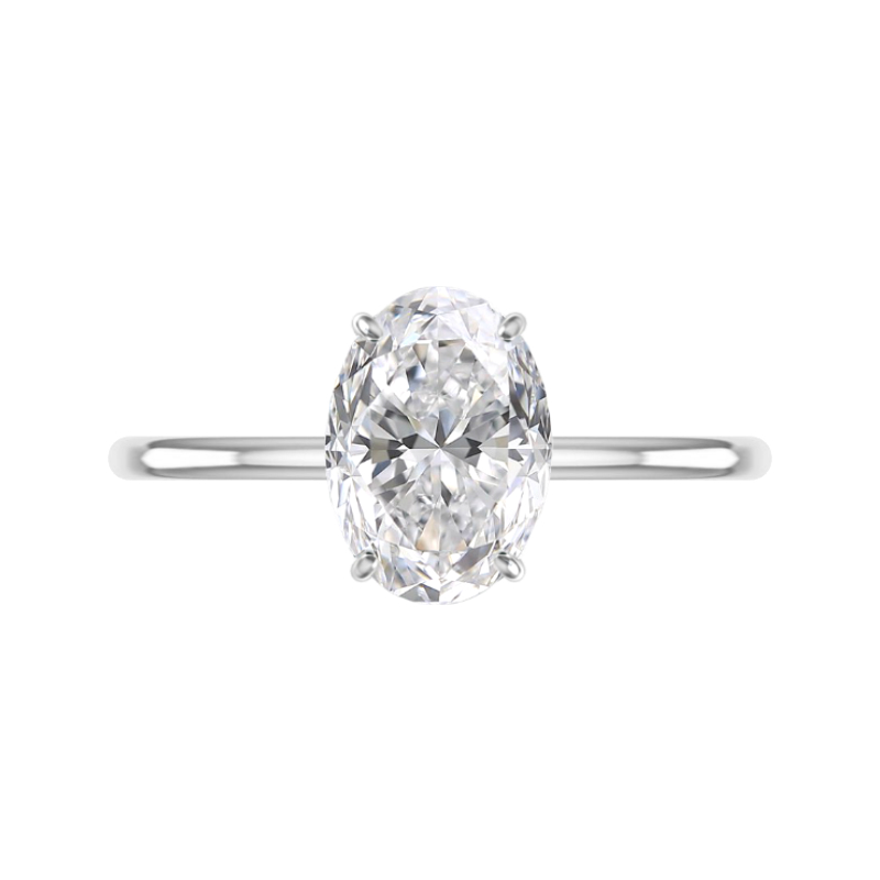 3 Carat Oval Lab Grown Diamond & Hidden Halo Solitaire Ring