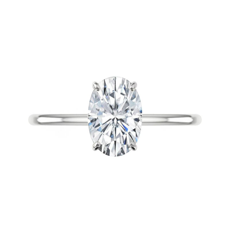3 Carat Elongated Oval Moissanite & Diamond Hidden Halo Solitaire