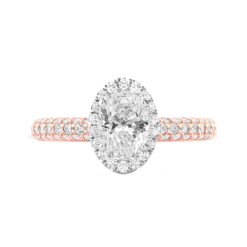 3 ct Oval Moissanite & Double Edge Halo Three Row Pave Ring