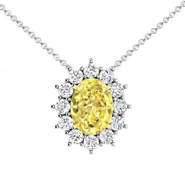 3 Carat Fancy Yellow Oval Diamond & Halo Pendant