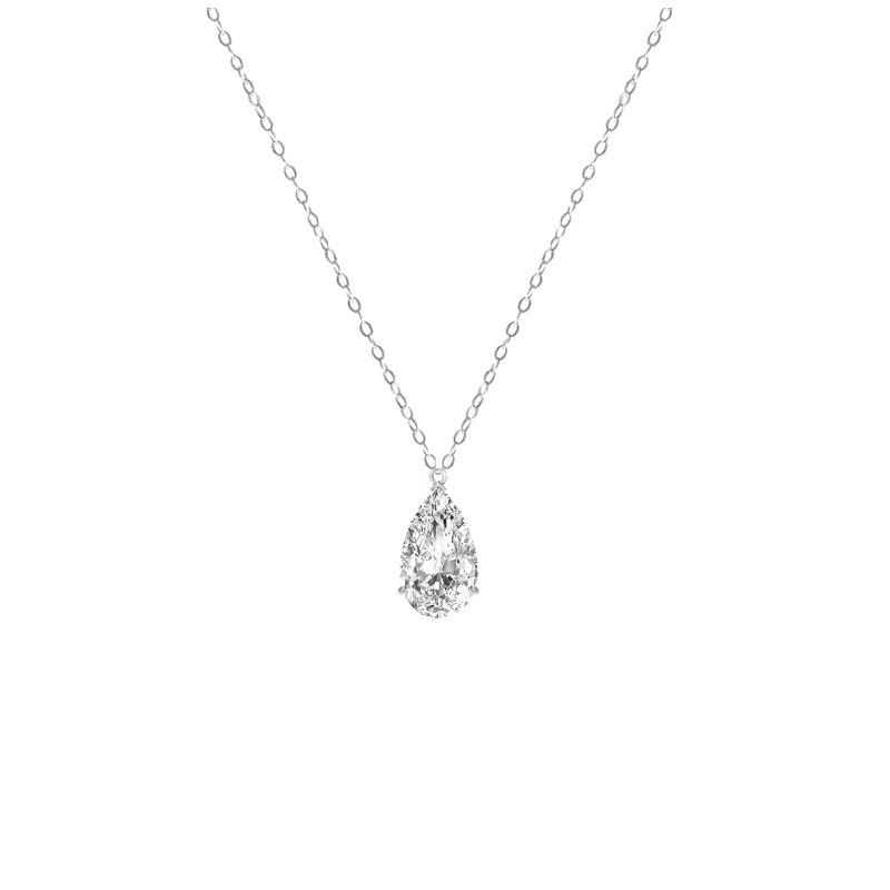 3 Carat Pear Diamond Solitaire Pendant Necklace
