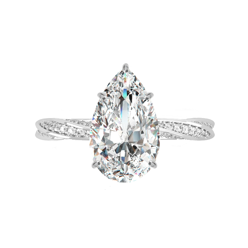 3 Carat Pear Lab Grown Diamond & Hidden Halo Spiral Band Ring