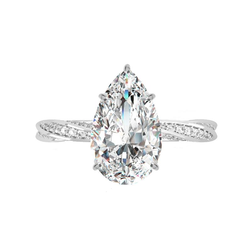 3 Carat Pear Lab Grown Diamond & Hidden Halo Spiral Band Ring