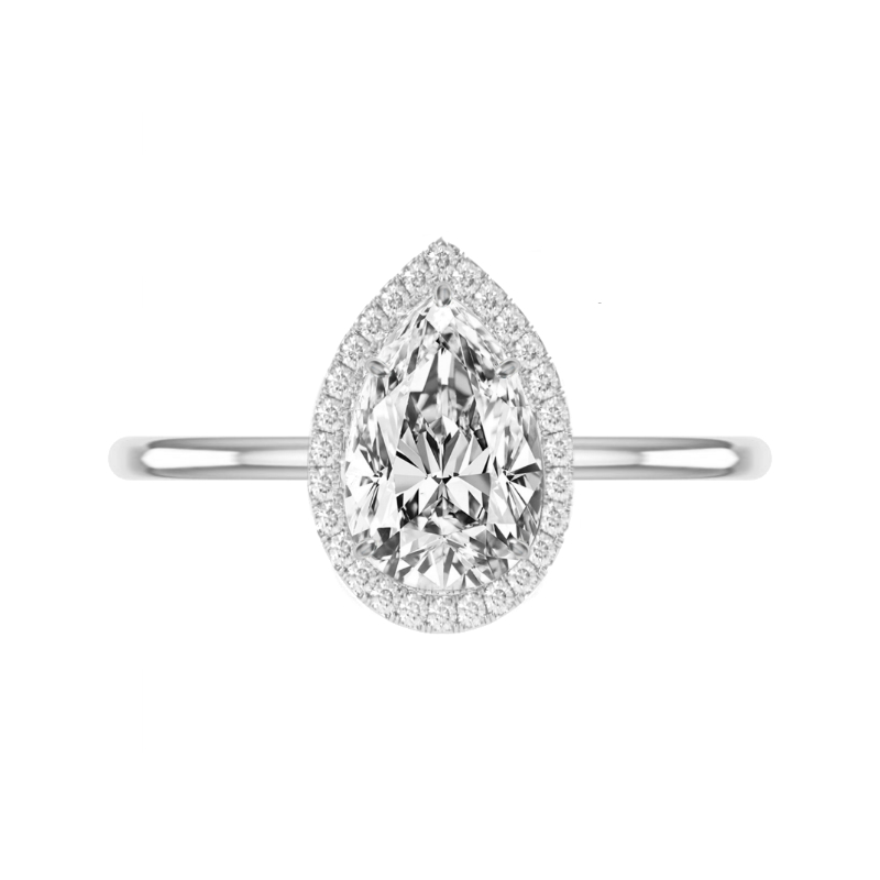 3 Carat Pear Moissanite & Diamond Double Edge Halo Solitaire Ring