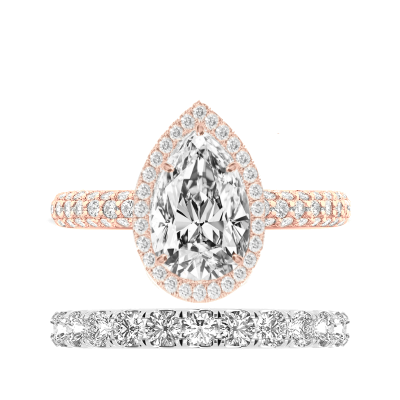 3 Carat Pear Moissanite Micropave Ring & 3mm Diamond Eternity Band