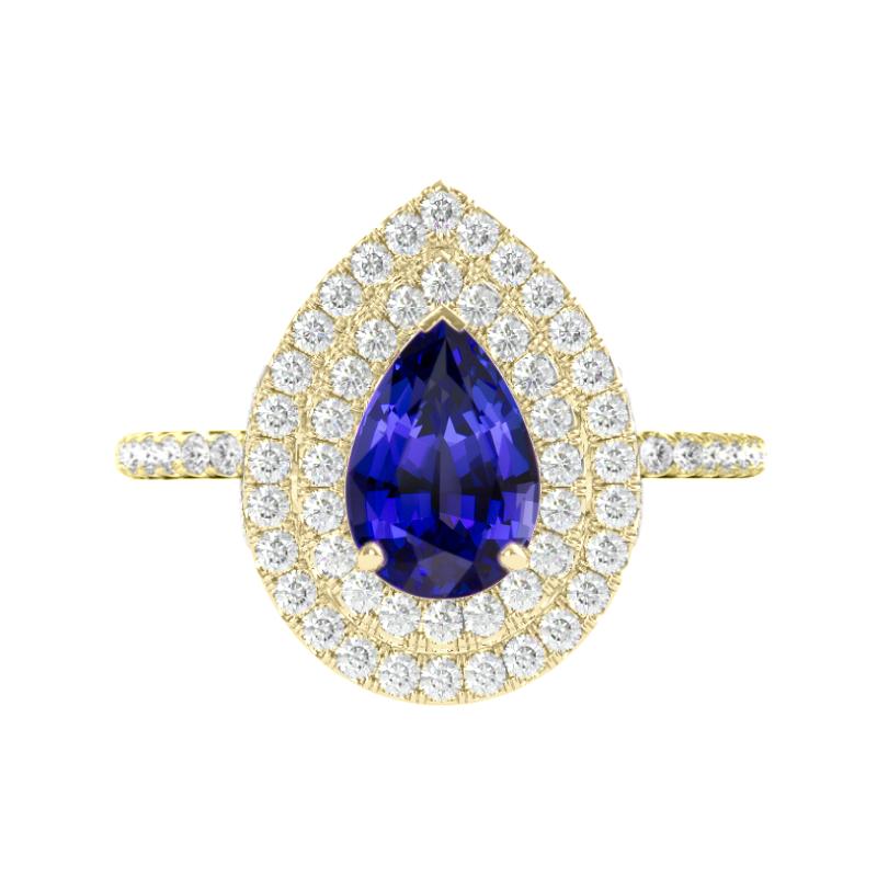 3 Carat Pear Tanzanite & Diamond Double Halo Ring
