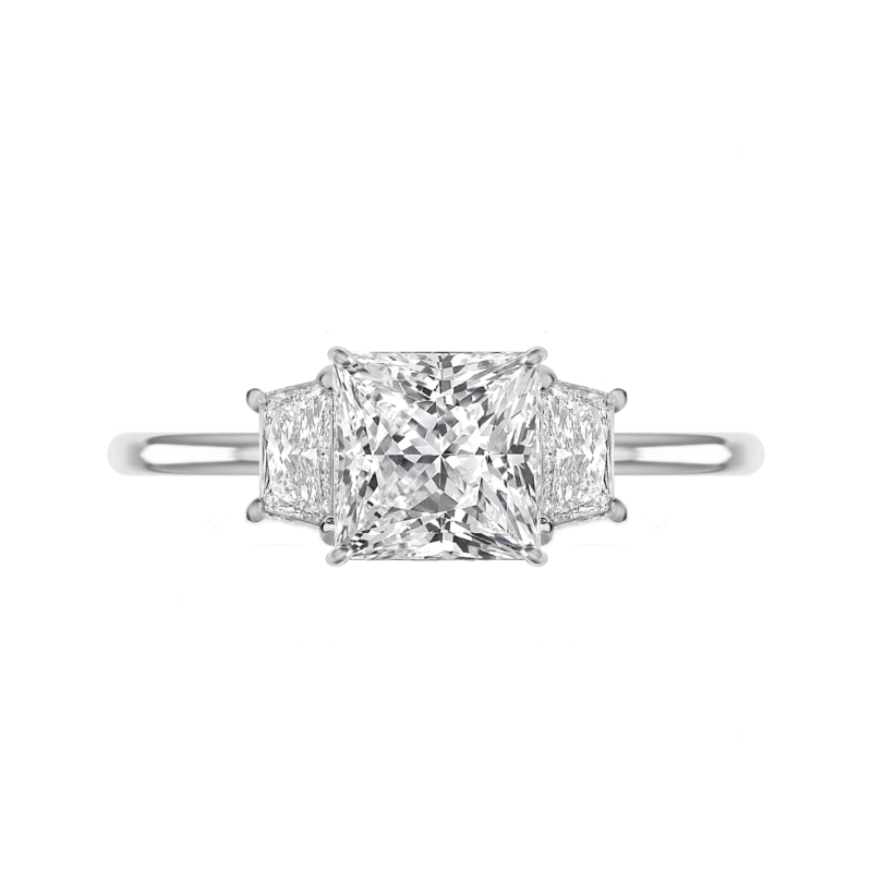 3 Carat Princess Moissanite & Trapezoid Diamond Solitaire Ring