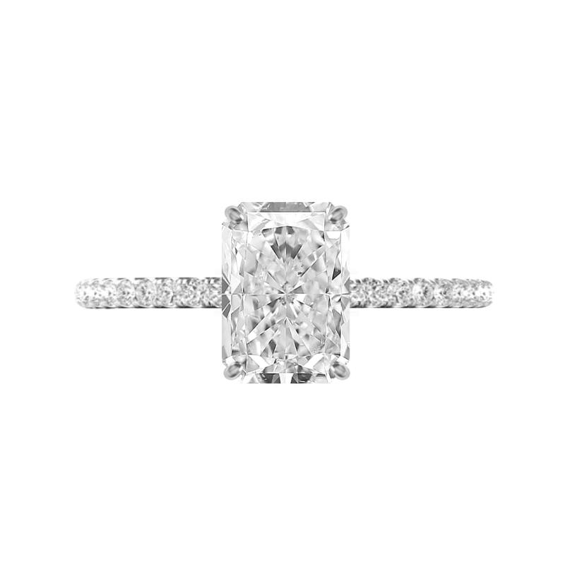 3.30 Carat Radiant Moissanite & Diamond Hidden Halo Pave Ring