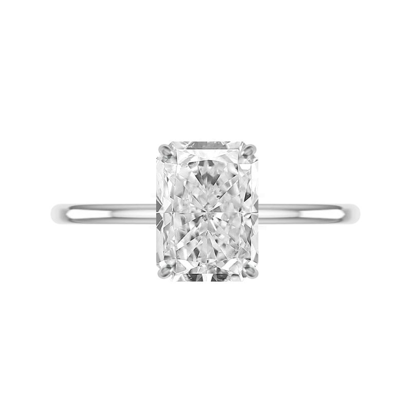 3 Carat Radiant Lab Grown Diamond & Hidden Halo Solitaire