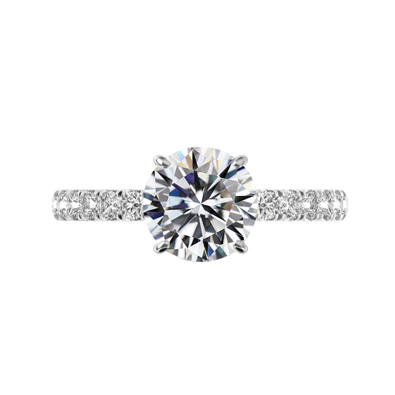 3 Carat Round Moissanite & 2.5mm Diamond Pave Band