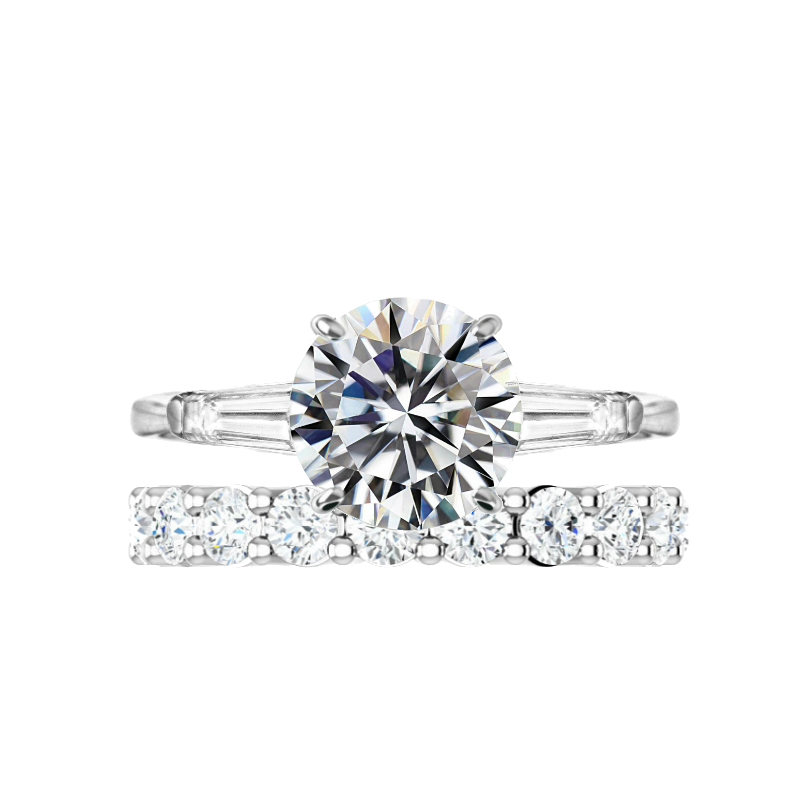 3 Carat Round Moissanite Ring & 3mm Diamond Eternity Band