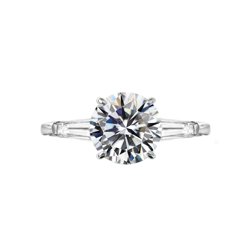 3 Carat Round Moissanite & Diamond Baguette Ring