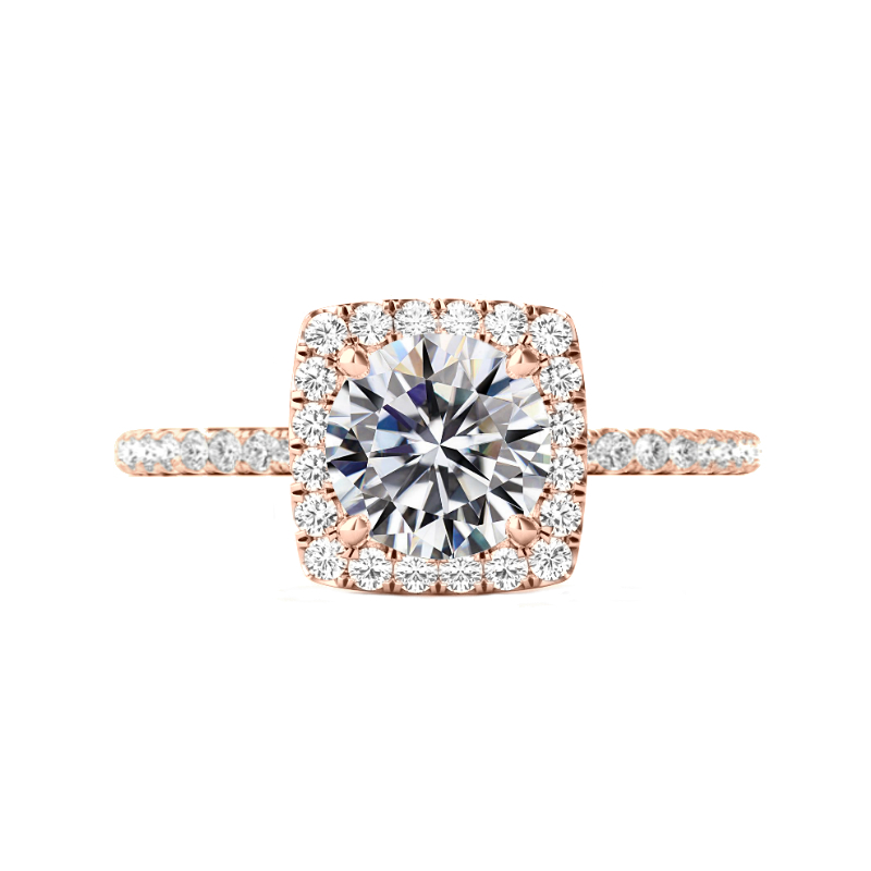 3 Carat Round Moissanite & Diamond Cushion Halo Ring