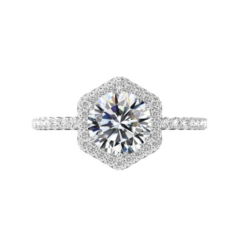 3 Carat Round Moissanite & Diamond Double Edge Hexagon Halo Ring