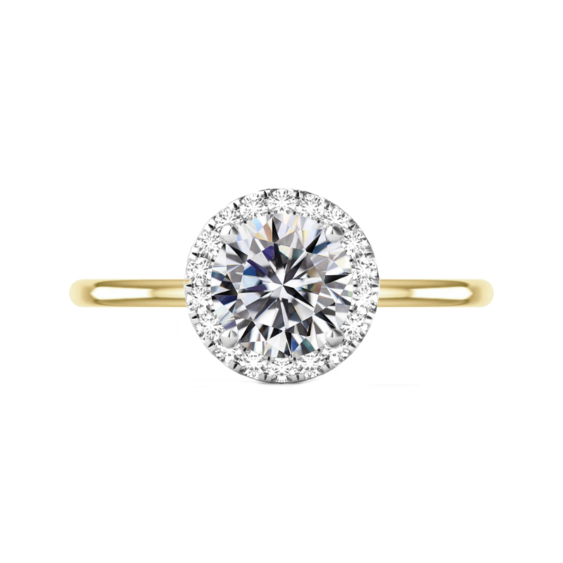 3 ct Round Moissanite & Diamond Halo Solitaire Two Tone Ring
