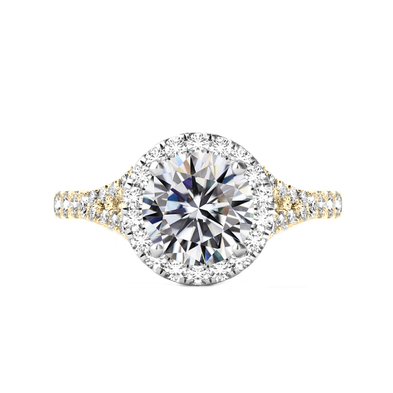 3 ct Moissanite & Diamond Halo Split Shank Two Tone Ring