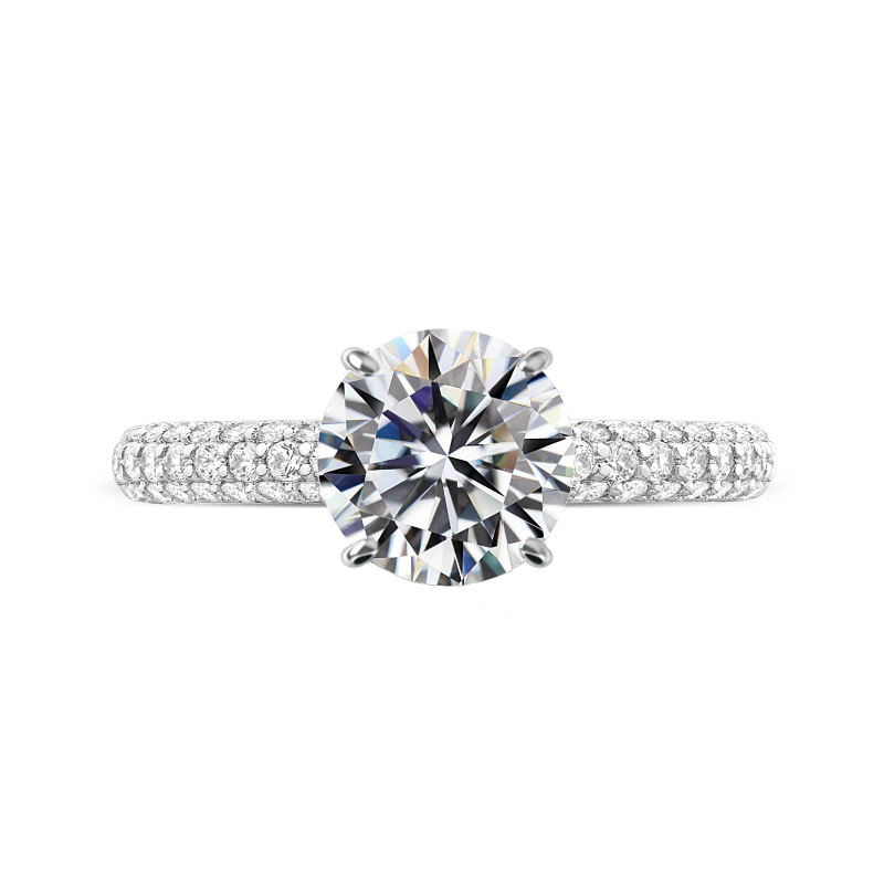 3 Carat Round Moissanite & Three Row Pave Band with Diamond Prongs