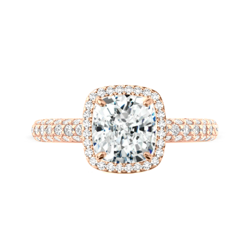 3.60 Carat Elongated Cushion Moissanite & Diamond Double Edge Halo Three Row Ring