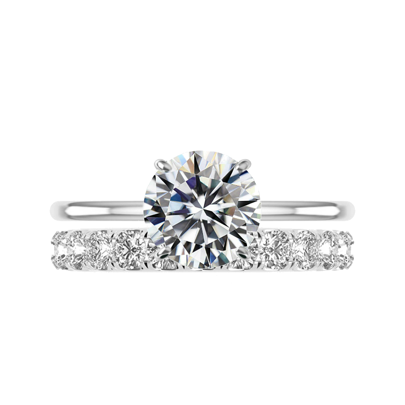 3 Carat Round Moissanite Solitaire & 3.5mm Diamond Eternity Band