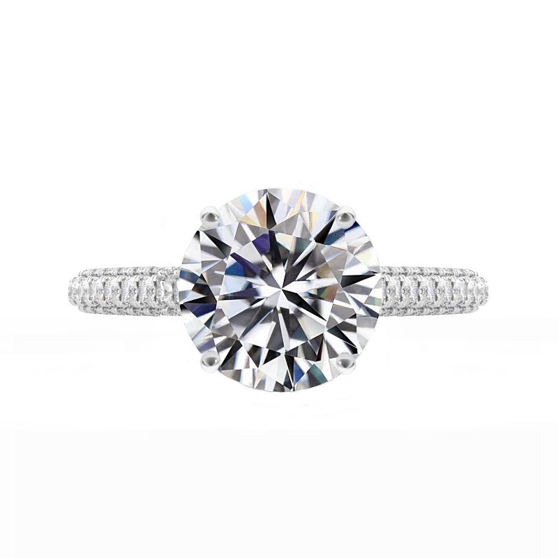 3 ct Round Moissanite & Diamond Three Row Eternity Ring